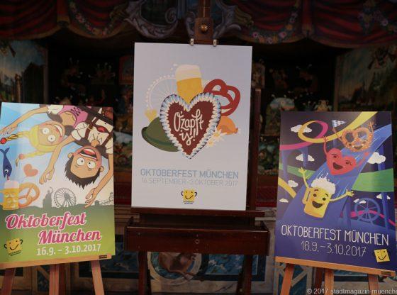 Die ersten drei Plätze der Entwürfe für das Oktoberfest-Plakat 2017.