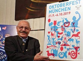 Wiesn-Stadtrat Otto Seidl präsentiert den Siegerentwurf für das Oktoberfest-Plakat 2019