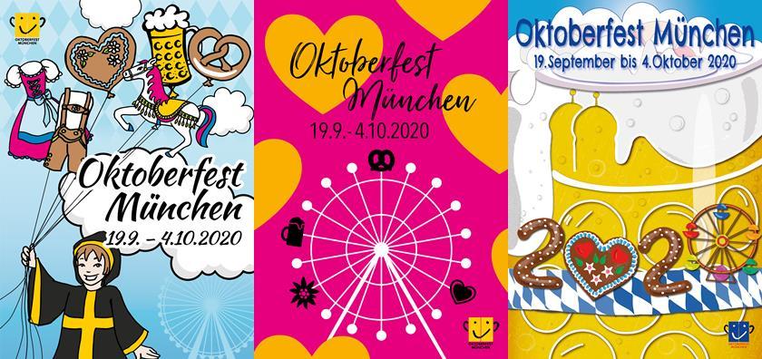 Drei Entwürfe Oktoberfest-Plakat 2020